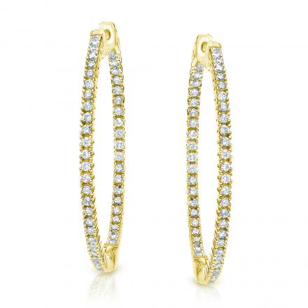 14k Yellow Gold Medium Round Diamond Hoop Earrings 2.00 ct. tw. (H-I, SI1-SI2), 1.57-inch (40mm)