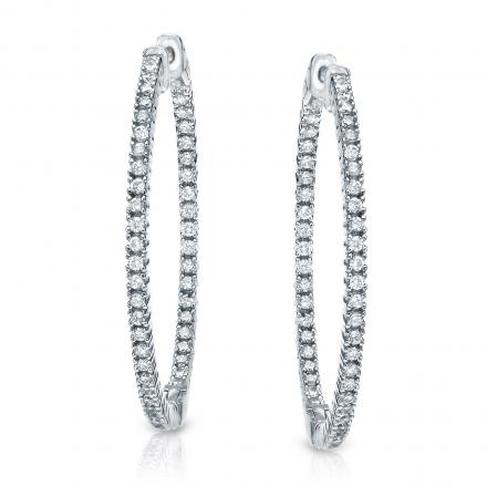 14k White Gold Large Round Diamond Hoop Earrings 2.50 ct. tw. (H-I, SI1-SI2), 1.81-inch (46mm)