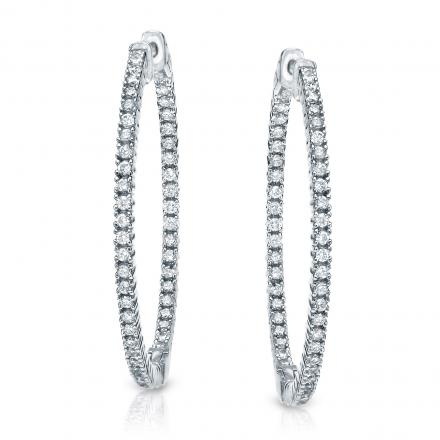 14k White Gold Extra Large Round Diamond Hoop Earrings 4.10 ct. tw. (H-I, SI1-SI2), 2.28-inch (58mm)