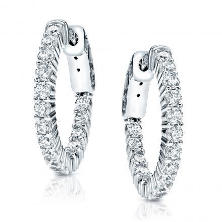 14k White Gold Medium Shared Prong Diamond Hoop Earrings 2.00 ct. tw. (H-I, SI1-SI2), 1-inch (25.4mm)