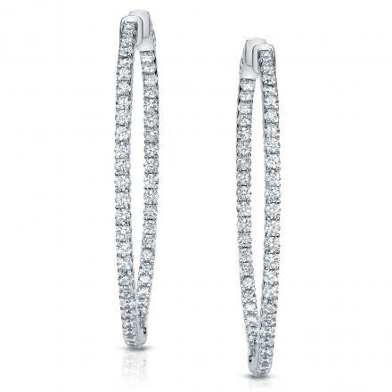 14k White Gold Medium Round Diamond Hoop Earrings 3.00 ct. tw. (H-I, SI1-SI2), 1.5-inch (38.1mm)