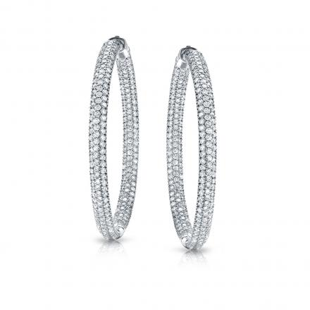 14k White Gold Medium Micro Pave Round Diamond Hoop Earrings 2.00 ct. tw. (H-I, SI1-SI2), 1.25-inch (31.75mm)