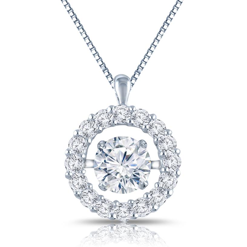 RhythmRocks® 14k White Gold Dancing Stone 1 1/2ct TDW Round Diamond Halo Circle Pendant (H-I, I1)