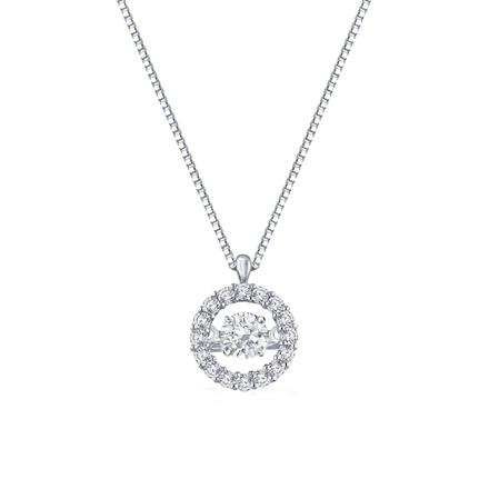 14K White Gold 1/2ct tw. Circle Halo Dancing Stone Diamond Pendant