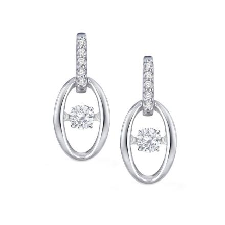 Rain-Drop Dancing Stone Diamond Earrings