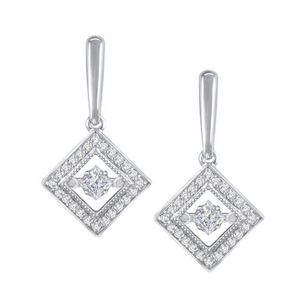 Royal Princess-Cut Dancing Stone Diamond Earrings