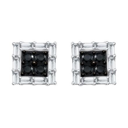 Certified 10k White Gold Black & White Round & Emerald Cut Diamond Earrings 0.50 ct. tw.