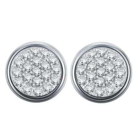 Certified 10k White Gold Round Cut White Diamond Earrings 0.15 ct. tw.