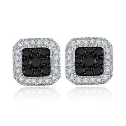 Certified 10k White Gold Black & White Round Cut Diamond Earrings 0.50 ct. tw.