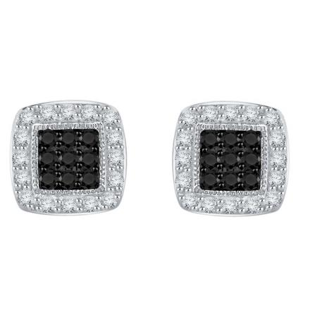 Certified 10k White Gold Black & White Round Cut Diamond Earrings 0.40 ct. tw.