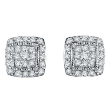 Certified 10k White Gold Round Cut White Diamond Earrings 0.50 ct. tw.