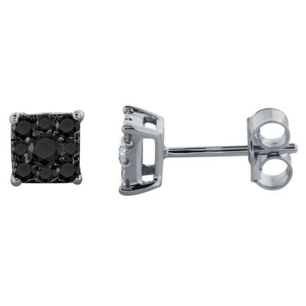 Certified 10k White Gold Black Round Cut Diamond Earrings 0.50 ct. tw.