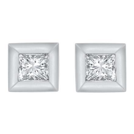 Certified 10k White Gold Princess Cut White Diamond Earrings 0.10 ct. tw.