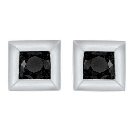 Certified 10k White Gold Black Princess Cut Diamond Earrings 0.10 ct. tw.