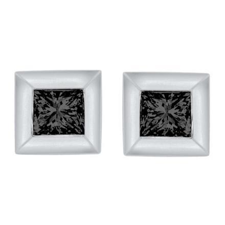 Certified 10k White Gold Black Round Cut Diamond Earrings 0.07 ct. tw.