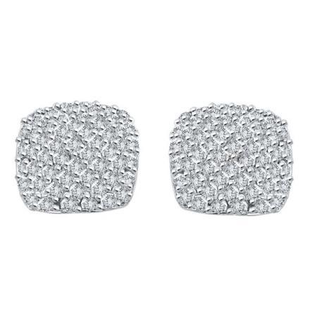 Certified 10k White Gold Round Cut White Diamond Earrings 1.00 ct. tw.