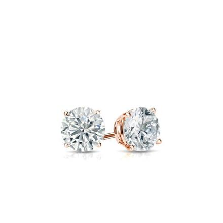 Certified 14k Rose Gold 4-Prong Basket Round Baby Diamond Stud Earrings  0.15ct. tw. (I-J, I1)