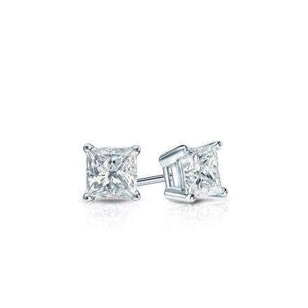 Certified Platinum 4-Prong Basket Princess Baby Diamond Stud Earrings  0.20ct. tw. (I-J, I1)