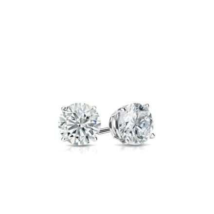 Certified 18k White Gold 4-Prong Basket Round Baby Diamond Stud Earrings  0.15ct. tw. (I-J, I1)