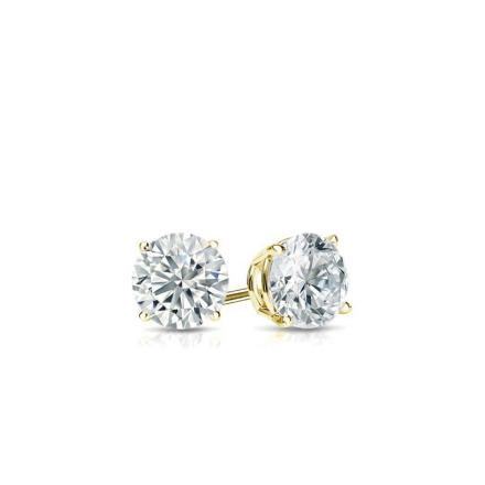 Certified 18k Yellow Gold 4-Prong Basket Round Baby Diamond Stud Earrings  0.10ct. tw. (I-J, I1)