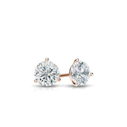Certified 14k Rose Gold 3-Prong Martini Round Baby Diamond Stud Earrings  0.15ct. tw. (I-J, I1)