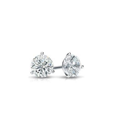 Certified 14k White Gold 3-Prong Martini Round Baby Diamond Stud Earrings 0.10ct. tw. (I-J, I1)