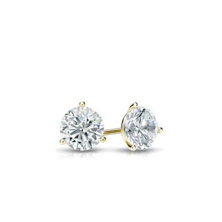 Certified 14k Yellow Gold 3-Prong Martini Round Baby Diamond Stud Earrings 0.10ct. tw. (I-J, I1)