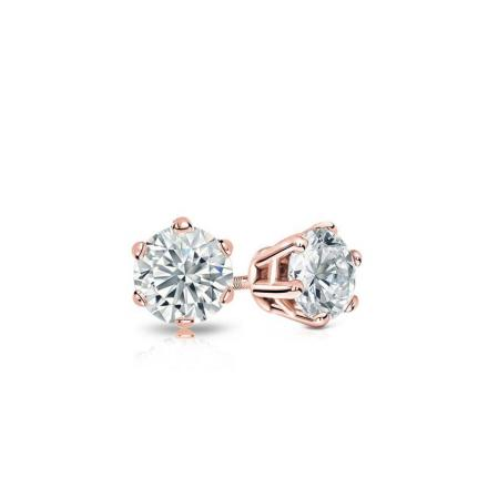 Certified 14k Rose Gold 6-Prong Basket Round Baby Diamond Stud Earrings  0.10ct. tw. (I-J, I1)