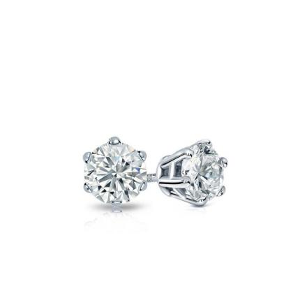 Certified 14k White Gold 6-Prong Basket Round Baby Diamond Stud Earrings 0.15ct. tw. (I-J, I1)