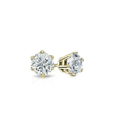Certified 14k Yellow Gold 6-Prong Basket Round Baby Diamond Stud Earrings 0.10ct. tw. (I-J, I1)