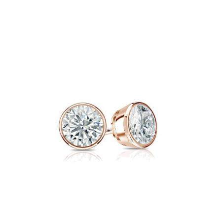 Certified 14k Rose Gold Bezel Round Baby Diamond Stud Earrings  0.10ct. tw. (I-J, I1)