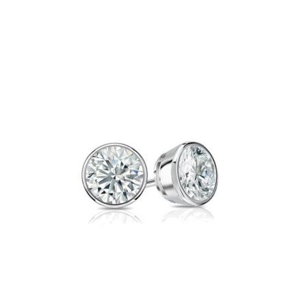 Certified 18k White Gold Bezel Round Baby Diamond Stud Earrings  0.15ct. tw. (I-J, I1)