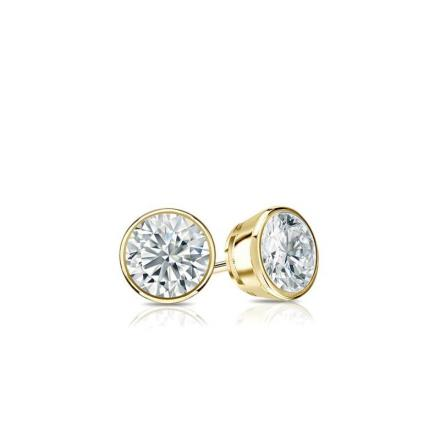 Certified 14k Yellow Gold Bezel Round Baby Diamond Stud Earrings 0.10ct. tw. (I-J, I1)
