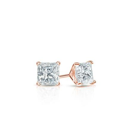 Certified 14k Rose Gold 4-Prong Martini Princess Baby Diamond Stud Earrings  0.15ct. tw. (I-J, I1)