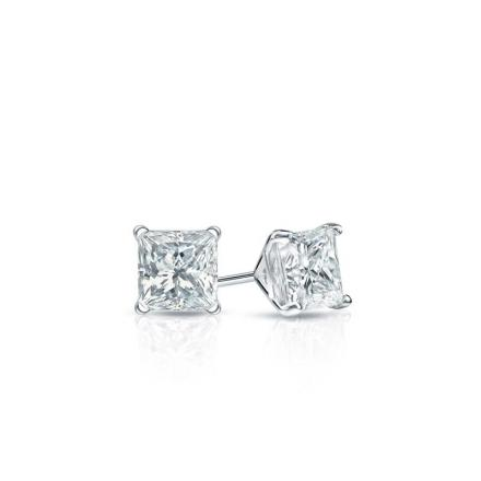 Certified Platinum 4-Prong Martini Princess Baby Diamond Stud Earrings  0.20ct. tw. (I-J, I1)