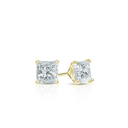 Certified 18k Yellow Gold 4-Prong Martini Princess Baby Diamond Stud Earrings  0.15ct. tw. (I-J, I1)