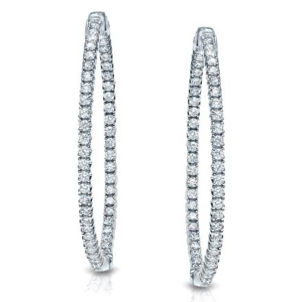Certified 14K White Gold Medium Round Diamond Hoop Earrings 1.50 ct. tw. (J-K, I1-I2), 1.25inch