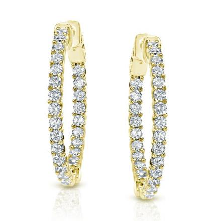 Certified 14K Yellow Gold Medium Trellis-style Round Diamond Hoop Earrings 1.50 ct. tw. (H-I, SI1-SI2), 0.90-inch (23mm)