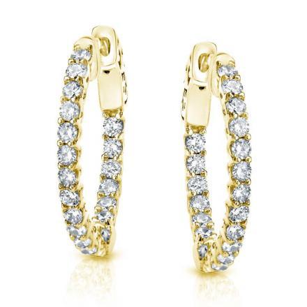 Certified 14K Yellow Gold Medium Trellis-style Round Diamond Hoop Earrings 3.00 ct. tw. (H-I, SI1-SI2), 0.75 inch
