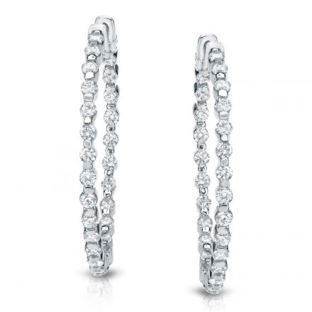 Certified 14K White Gold Large Round Diamond Hoop Earrings 10.00 ct. tw (H-I, SI1-SI2), 1.75 inch