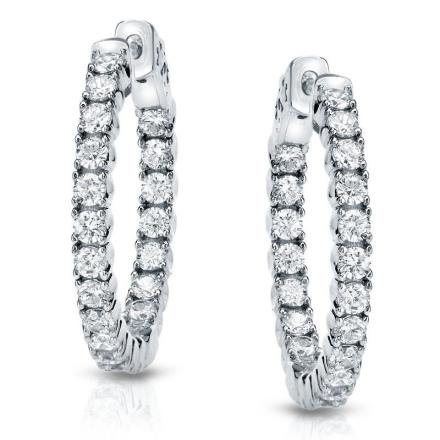 Certified 14K White Gold Medium Round Diamond Hoop Earrings 5.25 ct. tw. (J-K, I1-I2), 1.29-inch (33mm)
