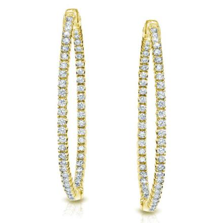 Certified 14K Yellow Gold Medium Trellis-style Round Diamond Hoop Earrings 3.75 ct. tw. (H-I, SI1-SI2), 1.41-inch (36mm)