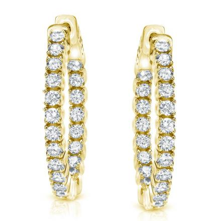 Certified 14K Yellow Gold Medium Round Inside-Out Diamond Hoop Earrings 2.00 ct. tw. (J-K, I1-I2), 0.75 inch
