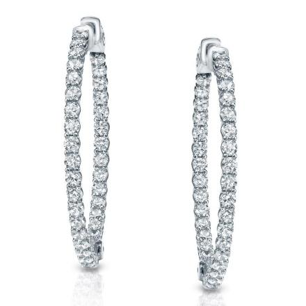 Certified 14K White Gold Medium Inside-Out Trellis-style Round Diamond Hoop Earrings 3.50 ct. tw. (J-K, I1-I2), 1.25 inch