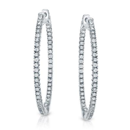 Certified 14K White Gold Medium Round Diamond Hoop Earrings 2.00 ct. tw. (H-I, SI1-SI2), 1.5 inch