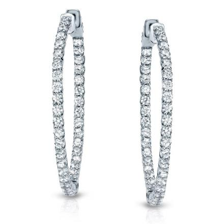 Certified 14K White Gold Medium Trellis-style Round Diamond Hoop Earrings 2.25 ct. tw. (H-I, SI1-SI2), 1.0 inch