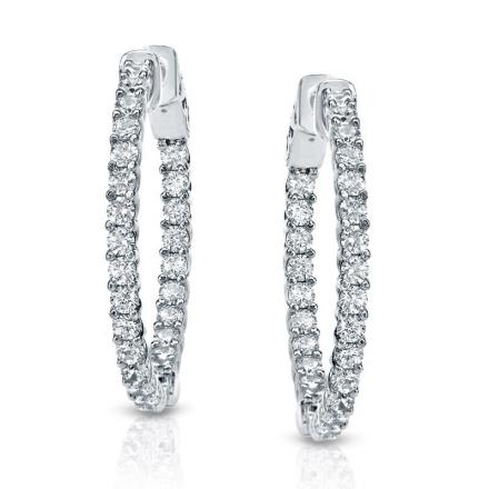 Certified 14K White Gold Medium Trellis-style Round Diamond Hoop Earrings 2.25 ct. tw. (H-I, SI1-SI2), 0.75 inch