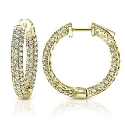 Certified 14K Yellow Gold Medium Inside Out Pave Round Diamond Hoop Earrings 1.00 ct. tw. (H-I, SI1-SI2), 0.75 inch