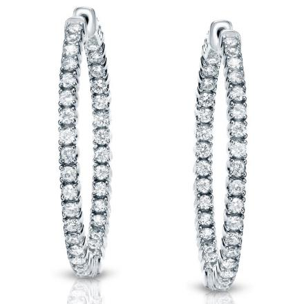 Certified 14K White Gold Medium Round Diamond Hoop Earrings 3.25 ct. tw. (J-K, I1-I2), 1.25 inch