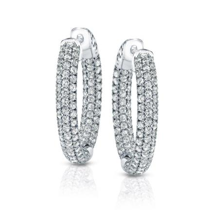 Certified 14K White Gold Medium Inside Out Pave Round Diamond Hoop Earrings 1.00 ct. tw. (J-K, I1-I2), 0.75 inch